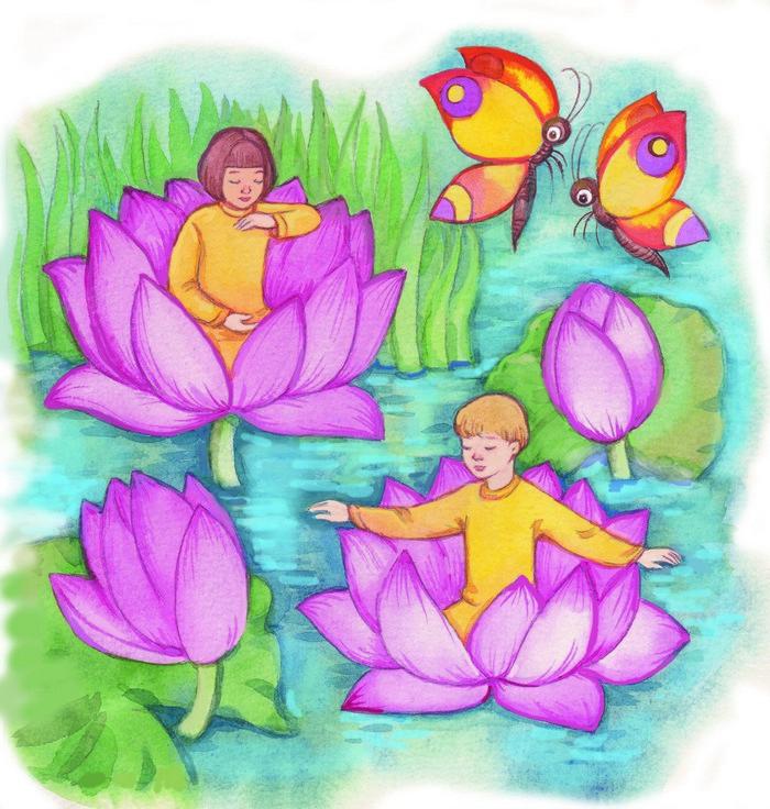 маленькие дети практикуют пятое упражнение цигун