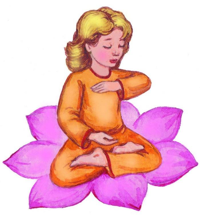 Совершенство. Мальчик медитирует в позе лотоса. Выполняет пятое упражнение.