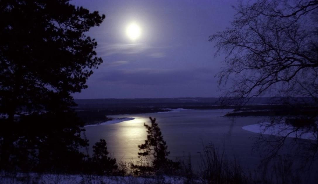 ночь луна вода снег