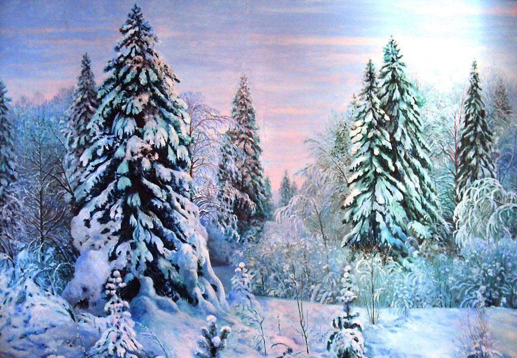 Красивый живописный зимний лес