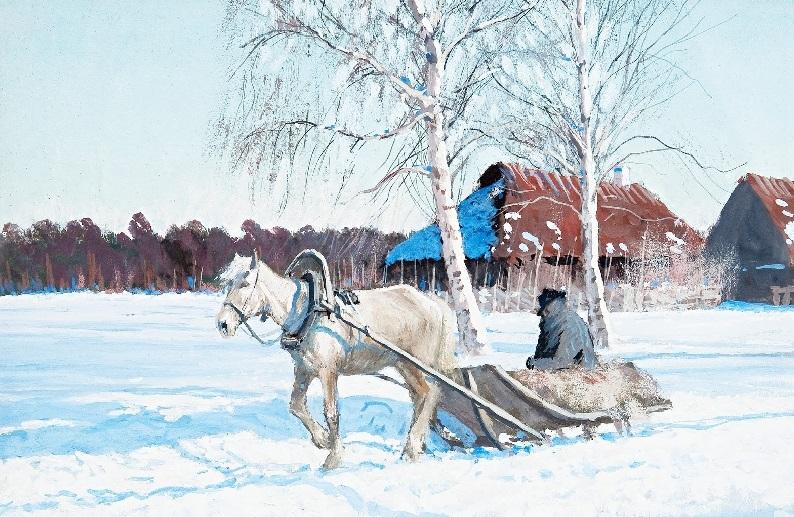 зима сани лошадь мужчина
