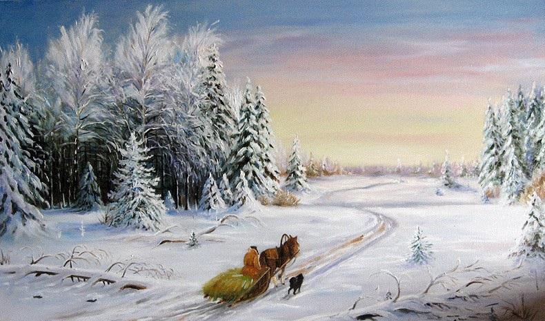 сани зима лесок дорога
