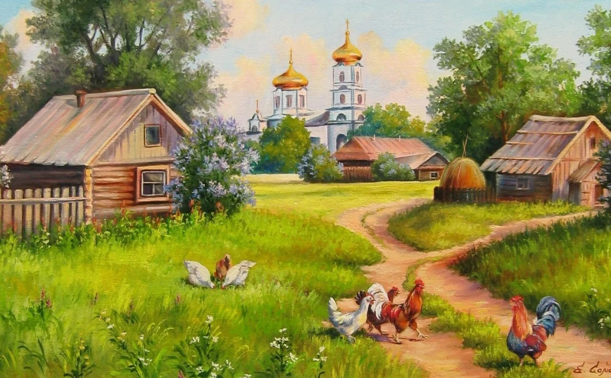 деревенский домик церковь курочки