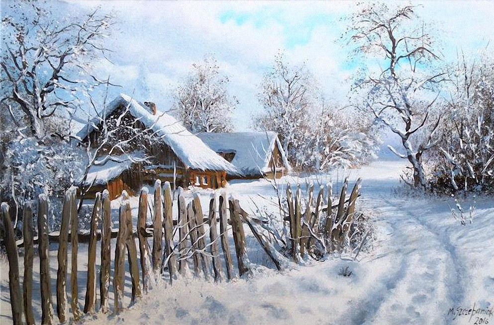 деревенский домик зима забор