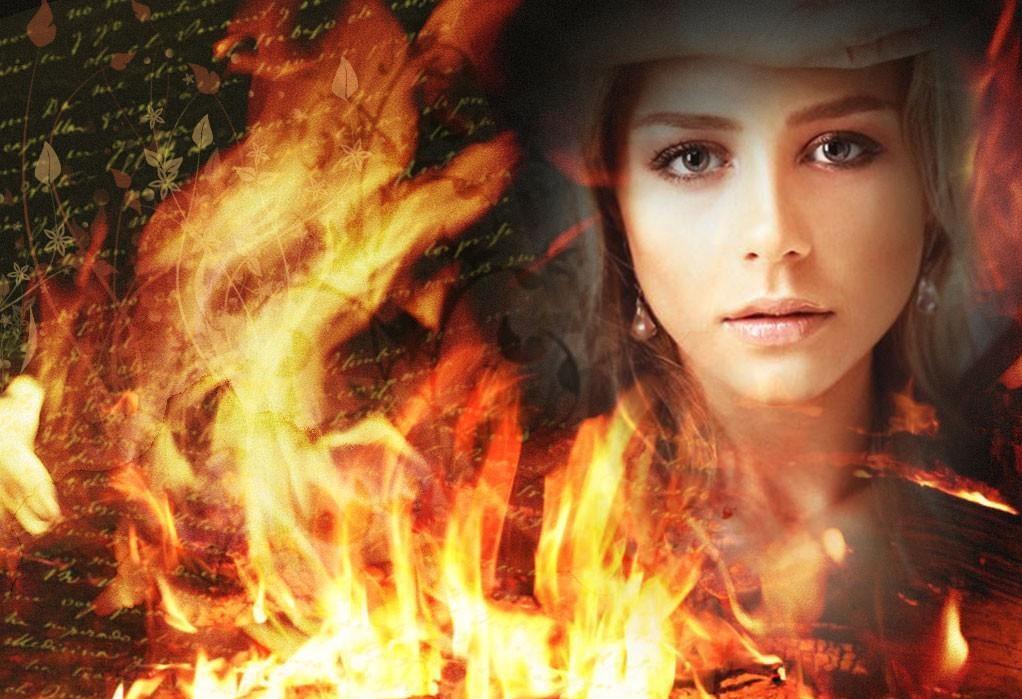 девушка огонь письмо пламя