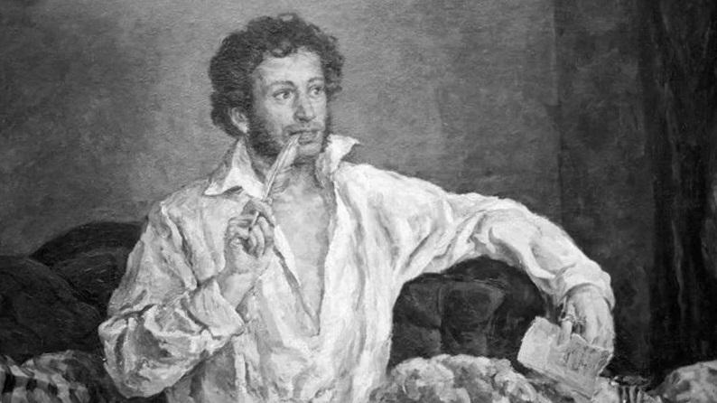 Пушкин с пером в руке