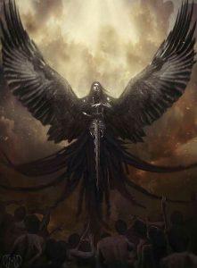 ангел с темными крыльями и мечом