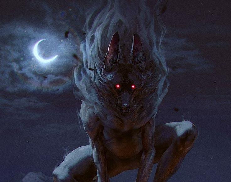 ночное существо с красными глазами зрачками смотрит луна