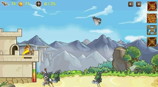 летающие и наземные монстры атакуют замок лучник сражается
